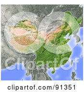 Royalty Free RF Clipart Illustration Of A Shaded Relief Map Of China
