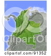 Royalty Free RF Clipart Illustration Of A Shaded Relief Map Of Colombia