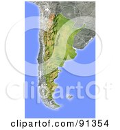 Royalty Free RF Clipart Illustration Of A Shaded Relief Map Of Argentina