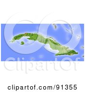Royalty Free RF Clipart Illustration Of A Shaded Relief Map Of Cuba