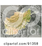 Royalty Free RF Clipart Illustration Of A Shaded Relief Map Of Afghanistan