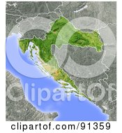Royalty Free RF Clipart Illustration Of A Shaded Relief Map Of Croatia