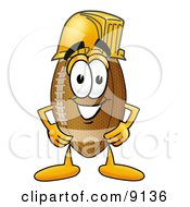 Clipart Picture Of A Football Mascot Cartoon Character Wearing A Helmet by Toons4Biz