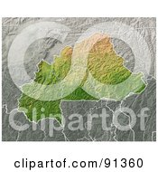 Royalty Free RF Clipart Illustration Of A Shaded Relief Map Of Burkina Faso