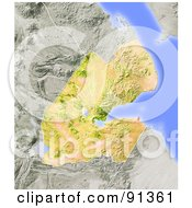 Royalty Free RF Clipart Illustration Of A Shaded Relief Map Of Djibouti