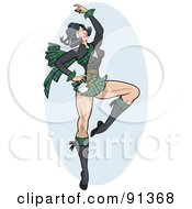 Royalty Free RF Clipart Illustration Of A Sexy Pinup Scottish Woman Dancing