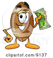 Football Mascot Cartoon Character Holding A Dollar Bill