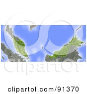 Royalty Free RF Clipart Illustration Of A Shaded Relief Map Of Malaysia