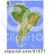 Royalty Free RF Clipart Illustration Of A Shaded Relief Map Of South America