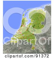 Royalty Free RF Clipart Illustration Of A Shaded Relief Map Of The Netherlands