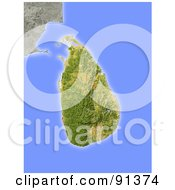 Royalty Free RF Clipart Illustration Of A Shaded Relief Map Of Sri Lanka