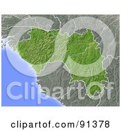 Royalty Free RF Clipart Illustration Of A Shaded Relief Map Of Guinea