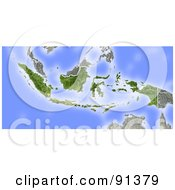 Royalty Free RF Clipart Illustration Of A Shaded Relief Map Of Indonesia