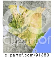 Royalty Free RF Clipart Illustration Of A Shaded Relief Map Of Kenya
