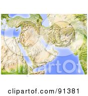 Royalty Free RF Clipart Illustration Of A Shaded Relief Map Of The Near East Without Borders