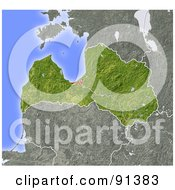 Royalty Free RF Clipart Illustration Of A Shaded Relief Map Of Latvia
