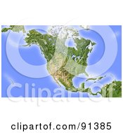 Shaded Relief Map Of North America