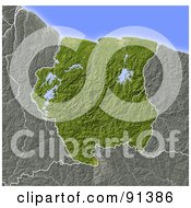 Royalty Free RF Clipart Illustration Of A Shaded Relief Map Of Suriname