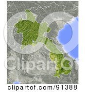 Royalty Free RF Clipart Illustration Of A Shaded Relief Map Of Laos