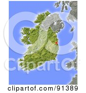 Royalty Free RF Clipart Illustration Of A Shaded Relief Map Of Ireland
