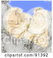 Royalty Free RF Clipart Illustration Of A Shaded Relief Map Of Libya