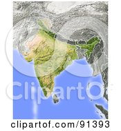 Royalty Free RF Clipart Illustration Of A Shaded Relief Map Of India