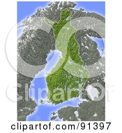 Royalty Free RF Clipart Illustration Of A Shaded Relief Map Of Finland