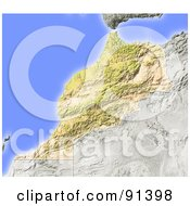 Royalty Free RF Clipart Illustration Of A Shaded Relief Map Of Morocco