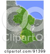 Royalty Free RF Clipart Illustration Of A Shaded Relief Map Of Guyana