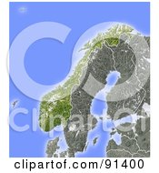 Royalty Free RF Clipart Illustration Of A Shaded Relief Map Of Norway