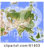 Shaded Relief Map Of Asia