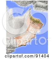 Royalty Free RF Clipart Illustration Of A Shaded Relief Map Of Oman