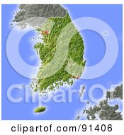 Royalty Free RF Clipart Illustration Of A Shaded Relief Map Of South Korea