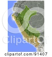 Royalty Free RF Clipart Illustration Of A Shaded Relief Map Of Peru