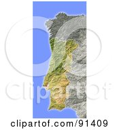 Royalty Free RF Clipart Illustration Of A Shaded Relief Map Of Portugal