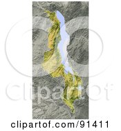 Royalty Free RF Clipart Illustration Of A Shaded Relief Map Of Malawi