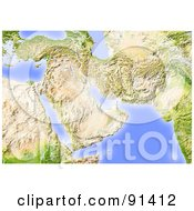 Royalty Free RF Clipart Illustration Of A Shaded Relief Map Of The Near East