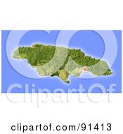 Royalty Free RF Clipart Illustration Of A Shaded Relief Map Of Jamaica by Michael Schmeling #COLLC91413-0128