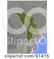 Royalty Free RF Clipart Illustration Of A Shaded Relief Map Of Moldova