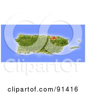 Royalty Free RF Clipart Illustration Of A Shaded Relief Map Of Puerto Rico