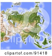 Royalty Free RF Clipart Illustration Of A Shaded Relief Map Of Asia Without Borders