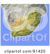 Royalty Free RF Clipart Illustration Of A Shaded Relief Map Of South Africa