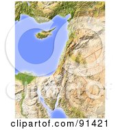 Royalty Free RF Clipart Illustration Of A Shaded Relief Map Of Palestine by Michael Schmeling #COLLC91421-0128