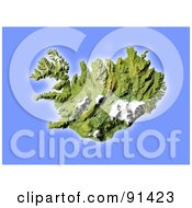 Royalty Free RF Clipart Illustration Of A Shaded Relief Map Of Iceland