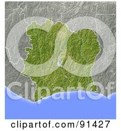 Royalty Free RF Clipart Illustration Of A Shaded Relief Map Of Ivory Coast
