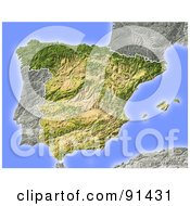 Royalty Free RF Clipart Illustration Of A Shaded Relief Map Of Spain