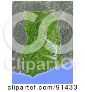 Royalty Free RF Clipart Illustration Of A Shaded Relief Map Of Ghana by Michael Schmeling #COLLC91433-0128