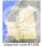 Royalty Free RF Clipart Illustration Of A Shaded Relief Map Of Mauritania