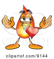 Clipart Picture Of A Flame Mascot Cartoon Character With His Heart Beating Out Of His Chest