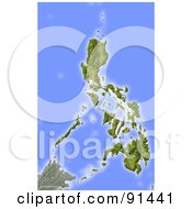 Royalty Free RF Clipart Illustration Of A Shaded Relief Map Of Philippines by Michael Schmeling #COLLC91441-0128